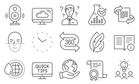 Set of Science icons, such as Time, Speaker. Diploma, ideas, save planet. World water, 360 degree, Marketing. Chemistry lab, Support consultant, Hypoallergenic tested. Vector Banque d'images - 140548646