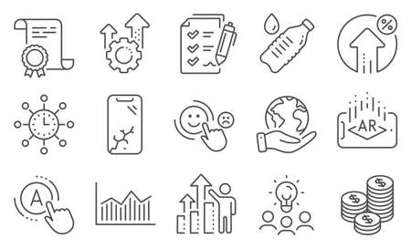 Set of Business icons, such as Ab testing, Water bottle. Diploma, ideas, save planet. Augmented reality, Customer satisfaction, World time. Coins, Employee results, Smartphone broken. Vector