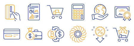 Set of Finance icons, such as Salary, Calculator. Certificate, save planet. Bitcoin exchange, Credit card, Internet shopping. Report document, Cross sell, Discount. Vector