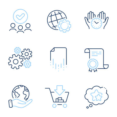Recovery file, Cogwheel and Ranking stars line icons set. Diploma certificate, save planet, group of people. Safe time, Shopping and Globe signs. Vector
