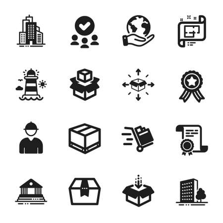 Set of Industrial icons, such as Package box, Engineer. Certificate, approved group, save planet. Get box, Buildings, Push cart. Packing boxes, Lighthouse, Parcel delivery. Vector