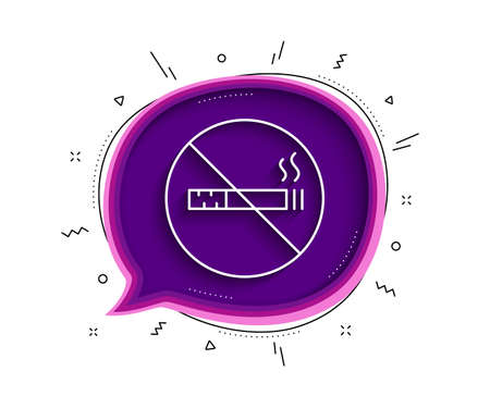 No smoking line icon. Chat bubble with shadow. Stop smoke sign. Hotel service symbol. Thin line no smoking icon. Vector 向量圖像