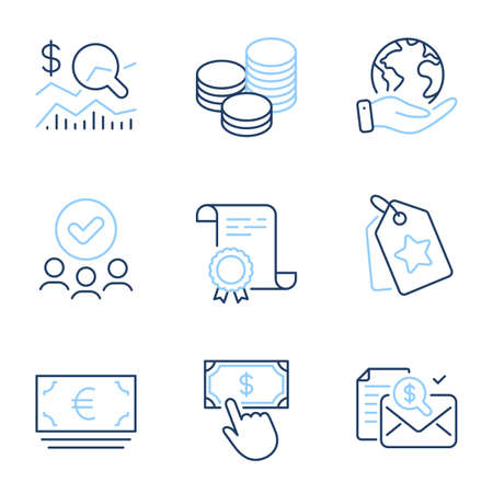 Check investment, Accounting report and Euro currency line icons set. Diploma certificate, save planet, group of people. Payment click, Loyalty tags and Tips signs. Vector