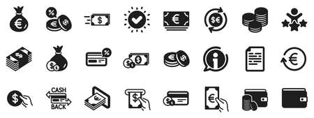 Set of Credit card, Cash and Coins icons. Money wallet icons. Banking, Currency exchange and Cashback service. Wallet, Euro and Dollar money, credit card. Cash exchange, bank payment. Vector