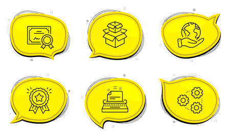Gears sign. Diploma certificate, save planet chat bubbles. Typewriter, Loyalty award and Packing boxes line icons set. Instruction, Bonus medal, Delivery box. Work process. Technology set. Vector Ilustrace