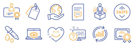 Set of Technology icons, such as Online delivery, Online quiz. Certificate, save planet. Certificate, Sale tags, Update data. Chemistry pipette, Smile face, Swipe up. Vector Ilustrace