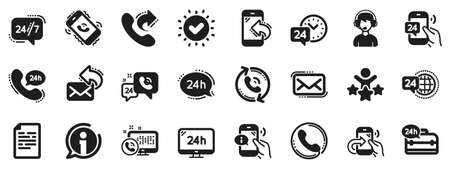 Set of Callback or feedback, Call support and Chat message icons. Processing icons. 24 hour service, Call centre, 247. Telephone callback, support message, feedback phone center. Vector Ilustracja