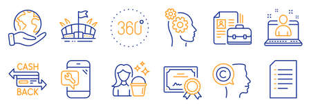Set of Business icons, such as Writer, Thoughts. Certificate, save planet. Document, Phone repair, Best manager. Arena, Vacancy, 360 degrees. Cleaning, Cashback card line icons. Vector