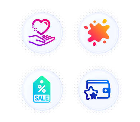 Hold heart, Sale coupon and Dirty spot icons simple set. Button with halftone dots. Loyalty program sign. Care love, Discount tag, Laundry service. Bonus wallet. Business set. Vector Ilustrace