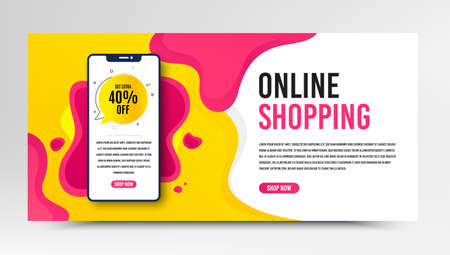 Get 40% off bubble. Phone screen mockup fluid banner. Discount banner shape. Sale badge icon. Social media banner with smartphone screen. Shopping mockup web template. Sale bubble promotion. Vector