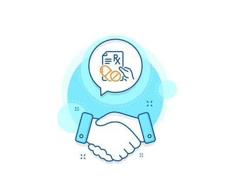 Medicine drugs pills sign. Handshake deal complex icon. Prescription Rx recipe line icon. Agreement shaking hands banner. Prescription drugs sign. Vector Ilustracja