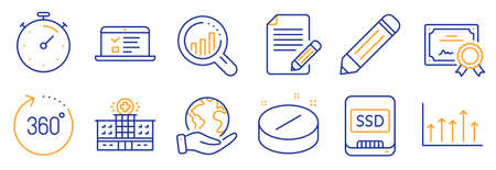 Set of Science icons, such as Seo analysis, Web lectures. Certificate, save planet. Ssd, Pencil, Hospital building. Growth chart, 360 degrees, Timer. Medical tablet, Article line icons. Vector