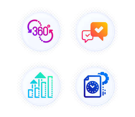360 degree, Analysis graph and Approve icons simple set. Button with halftone dots. Project deadline sign. Virtual reality, Targeting chart, Accepted message. Time management. Technology set. Vector