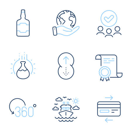 Chemistry experiment, Full rotation and Ship travel line icons set. Diploma certificate, save planet, group of people. Swipe up, Whiskey bottle and Credit card signs. Vector
