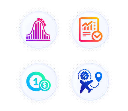 Checked calculation, Roller coaster and Usd coins icons simple set. Button with halftone dots. Flight sale sign. Statistical data, Attraction park, Cash payment. Travel discount. Business set. Vector
