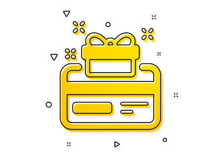 Bonus points. Loyalty card icon. Discount program symbol. Yellow circles pattern. Classic loyalty card icon. Geometric elements. Vector