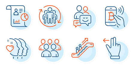 Friends couple, Group and Bitcoin pay signs. Report, Communication and Escalator line icons set. Touchscreen gesture, Teamwork symbols. Work statistics, Business messages. People set. Vector