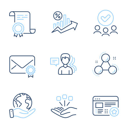 Verified mail, Loan percent and People line icons set. Diploma certificate, save planet, group of people. Chemistry molecule, Consolidation and Favorite signs. Vector Illustration