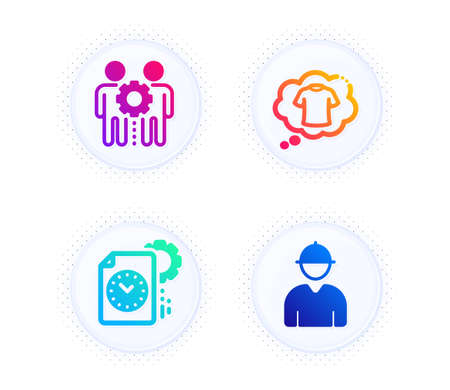 Employees teamwork, Project deadline and T-shirt icons simple set. Button with halftone dots. Engineer sign. Collaboration, Time management, Laundry shirt. Worker profile. Business set. Vector