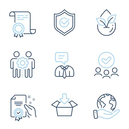 Support service, Get box and Certificate line icons set. Diploma certificate, save planet, group of people. Organic product, Approved shield and Employees teamwork signs. Vector