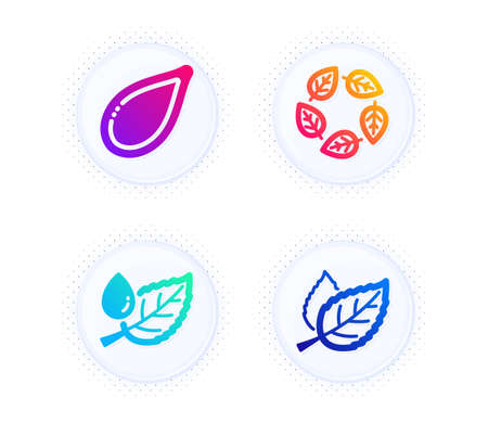 Organic tested, Pumpkin seed and Leaf dew icons simple set. Button with halftone dots. Leaf sign. Bio ingredients, Vegetarian food, Water drop. Nature leaves. Nature set. Vector Ilustração