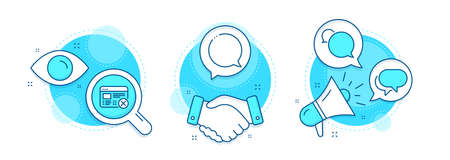 Reject web, Messenger and Speech bubble line icons set. Handshake deal, research and promotion complex icons. Talk bubble sign. No internet, Chat message. Business set. Vector Illustration