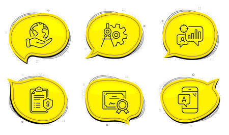 Ab testing sign. Diploma certificate, save planet chat bubbles. Seo statistics, Cogwheel dividers and Privacy policy line icons set. Analytics chart, Settings, Checklist. Phone test. Vector Ilustracja