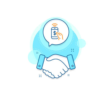Dollar pay sign. Handshake deal complex icon. Phone Payment line icon. Finance symbol. Agreement shaking hands banner. Phone payment sign. Vector Ilustrace