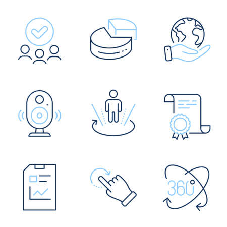Report document, Full rotation and Pie chart line icons set. Diploma certificate, save planet, group of people. Speaker, Augmented reality and Rotation gesture signs. Vector