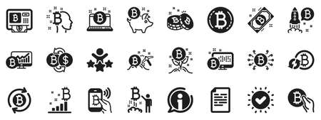 Set of Blockchain, Crypto ICO start up and Bitcoin icons. Cryptocurrency icons. Mining, Cryptocurrency exchange, gold pickaxe. Bitcoin ATM, crypto coins, financial ico markets, blockchain. Vector Stock Illustratie