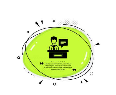 Exhibitors icon. Quote speech bubble. Information desk sign. Quotation marks. Classic exhibitors icon. Vector Ilustración de vector