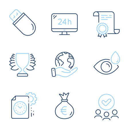 Project deadline, Winner and 24h service line icons set. Diploma certificate, save planet, group of people. Money bag, Usb stick and Eye drops signs. Vector Illustration