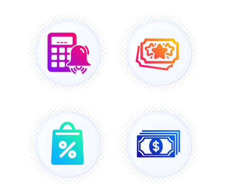 Shopping bag, Loyalty points and Calculator alarm icons simple set. Button with halftone dots. Payment sign. Supermarket discounts, Bonus coupon, Accounting. Finance. Finance set. Vector