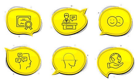 Messages sign. Diploma certificate, save planet chat bubbles. Face scanning, Like and Exhibitors line icons set. Faces detection, Social media dislike, Information desk. Notifications. Vector Ilustracja