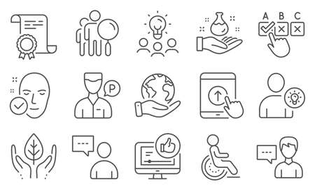 Set of People icons, such as Health skin, Users chat. Diploma, ideas, save planet. Person talk, Chemistry lab, Swipe up. Like video, Search people, Correct checkbox. Vector Ilustrace