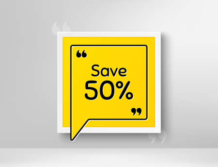 Save 50% off. Frame with thought bubble. Sale Discount offer price sign. Special offer symbol. Realistic frame and speech bubble. Banner with chat symbol and quotes. Discount promotion text. Vector Иллюстрация
