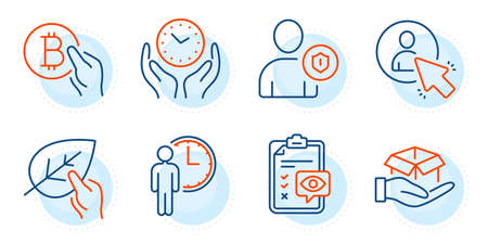 Eye checklist, Hold box and User signs. Waiting, Bitcoin pay and Security line icons set. Organic tested, Safe time symbols. Service time, Cryptocurrency coin. People set. Outline icons set. Vector