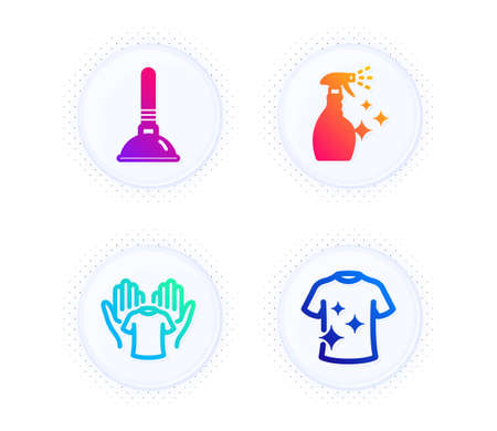 Plunger, Hold t-shirt and Washing cleanser icons simple set. Button with halftone dots. Clean t-shirt sign. Clogged pipes cleaner, Laundry shirt, Housekeeping spray. Cleaning set. Vector