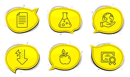 File sign. Diploma certificate, save planet chat bubbles. Eco food, Chemistry lab and Energy drops line icons set. Organic tested, Laboratory, Power usage. Paper page. Science set. Vector Ilustrace