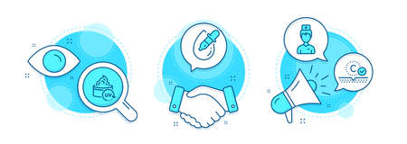 Collagen skin, Eye drops and Uv protection line icons set. Handshake deal, research and promotion complex icons. Doctor sign. Skin care, Pipette, Medicine person. Healthcare set. Vector Ilustracja