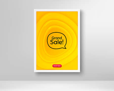 Grand sale symbol. Frame with orange poster. Special offer price sign. Advertising discounts symbol. Fluid gradient shapes and chat bubble. Banner with plastic background. Vector Иллюстрация