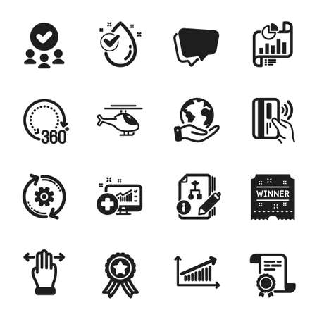 Set of Business icons, such as Water drop, Contactless payment. Certificate, approved group, save planet. Multitasking gesture, Chart, Algorithm. Winner ticket, Report document, 360 degrees. Vector