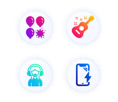 Support, Guitar and Balloon dart icons simple set. Button with halftone dots. Smartphone charging sign. Call center, Acoustic instrument, Attraction park. Phone battery. Business set. Vector