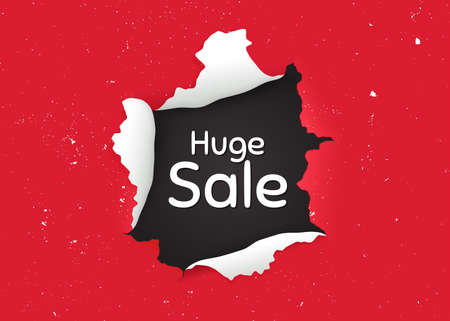 Huge Sale. Ragged hole, torn paper banner. Special offer price sign. Advertising Discounts symbol. Paper with ripped edges. Torn hole red background. Huge sale promotion banner. Vector Vettoriali