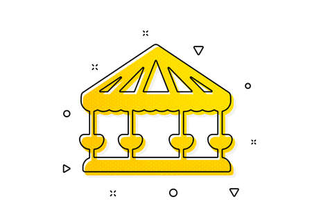 Amusement park sign. Carousels icon. Yellow circles pattern. Classic carousels icon. Geometric elements. Vector