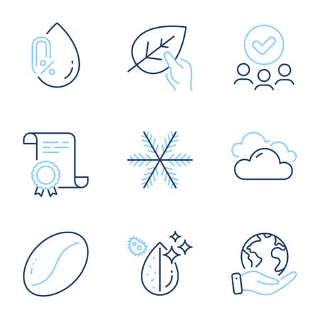 Snowflake, No alcohol and Organic tested line icons set. Diploma certificate, save planet, group of people. Coffee beans, Cloudy weather and Dirty water signs. Vector Stock Illustratie