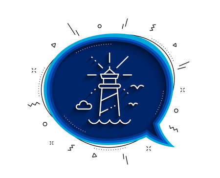 Lighthouse line icon. Chat bubble with shadow. Beacon tower sign. Searchlight building symbol. Thin line lighthouse icon. Vector 일러스트