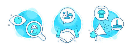 Dry t-shirt, Cleaning mop and Household service line icons set. Handshake deal, research and promotion complex icons. Sponge sign. Laundry shirt, Sweep a floor, Cleaning equipment. Vector
