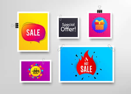 Hot sale, 20% discount and Special offer. Frames with promotional banners. Discount banner with speech bubble. Gift box badge. Photo frames and sale offers. Posters or flyers with paper clips. Vector Иллюстрация