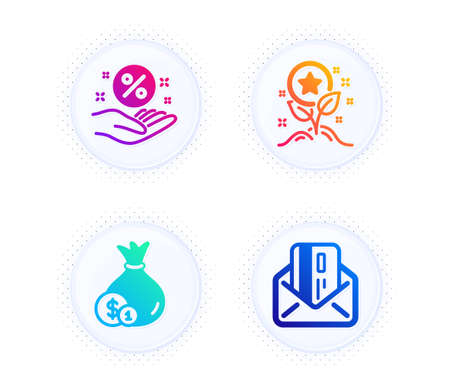 Cash, Loyalty points and Loan percent icons simple set. Button with halftone dots. Credit card sign. Banking currency, Bonus grows, Discount hand. Mail. Finance set. Gradient flat cash icon. Vector Illustration